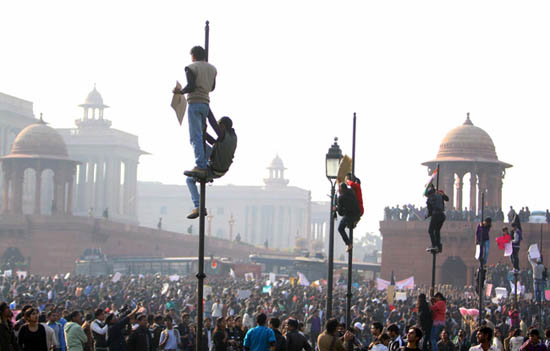 Power play: Protesters at Raisina Hills, New Delhi. Photo: Shailendra Pandey