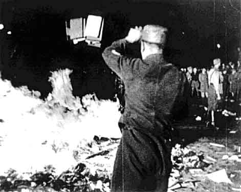 Books being burned by Nazis in Germany